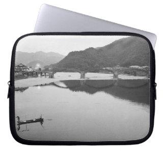 Asia, Japan, Iwakuni. Fishermen and historic Laptop Sleeve