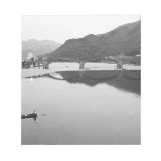 Asia, Japan, Iwakuni. Fishermen and historic Notepad