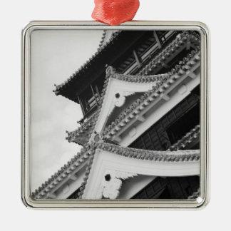 Asia, Japan, Kumamoto. Detail of the Kumamoto, Silver-Colored Square Decoration