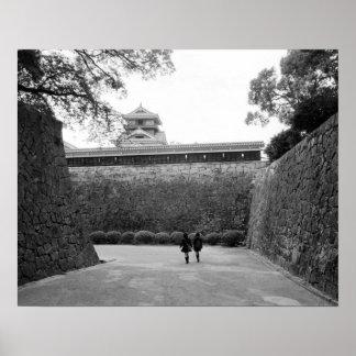 Asia, Japan, Kumamoto. Main walkway and moat, Poster