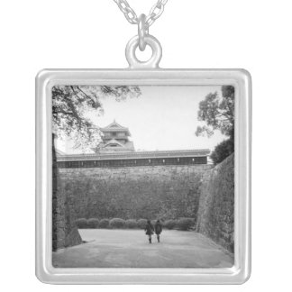 Asia, Japan, Kumamoto. Main walkway and moat, Silver Plated Necklace