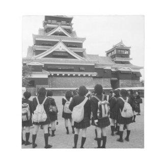 Asia, Japan, Kumamoto. Schoolchildren at Notepad