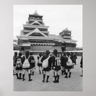 Asia, Japan, Kumamoto. Schoolchildren at Poster