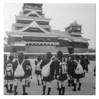 Asia, Japan, Kumamoto. Schoolchildren at Tile