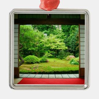 Asia, Japan, Kyoto. Zen Garden 2 Silver-Colored Square Decoration