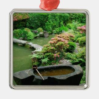 Asia, Japan, Kyoto. Zen Garden Silver-Colored Square Decoration