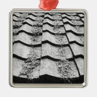 Asia, Japan, Miyajima. Clay roof detail Silver-Colored Square Decoration