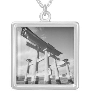Asia, Japan, Miyajima. The Torri Gate. Silver Plated Necklace