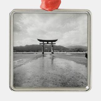 Asia, Japan, Myajima. The Torri Gate Silver-Colored Square Decoration