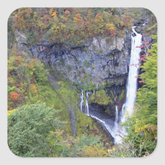 Asia, Japan, Nikko. Kegon waterfall of Nikko, a Square Sticker