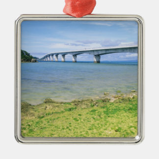 Asia, Japan, Okinawa, Kouri Bridge Silver-Colored Square Decoration