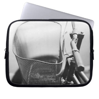 Asia, Japan, Tokyo. Bike basket in the Ginza Laptop Sleeve