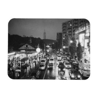 Asia, Japan, Tokyo. Evening, Harajuku Station, Rectangular Photo Magnet