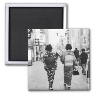 Asia, Japan, Tokyo. Geishas on the Ginza. Square Magnet