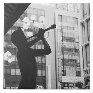 Asia, Japan, Tokyo. Music statue, Shibuyaku Tile