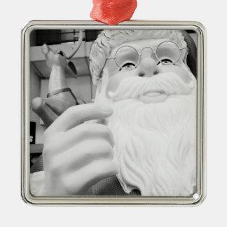 Asia, Japan, Tokyo. Santa Claus in Ikebukuro Silver-Colored Square Decoration