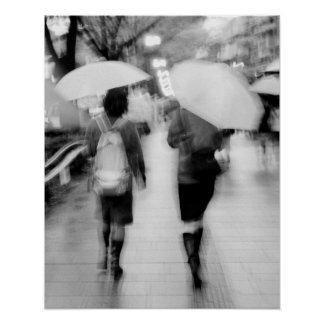 Asia, Japan, Tokyo. Young women and umbrellas. Poster