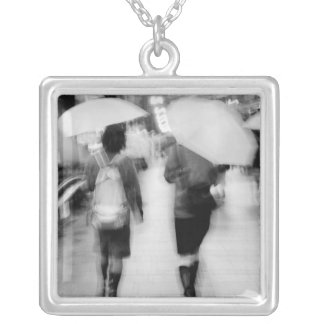 Asia, Japan, Tokyo. Young women and umbrellas. Silver Plated Necklace