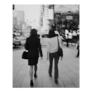 Asia, Japan, Tokyo. Young women on the Ginza. Print