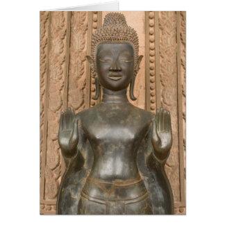 Asia, Laos, Vientiane, Bronze Buddha at Hawn Card