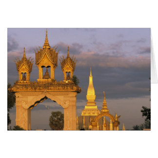 Asia, Laos, Vientiane. That Luang Temple. Card
