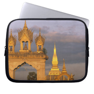Asia, Laos, Vientiane. That Luang Temple. Laptop Sleeve