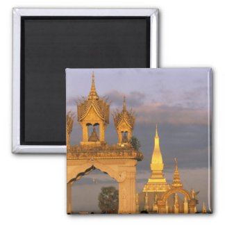 Asia, Laos, Vientiane. That Luang Temple. Square Magnet