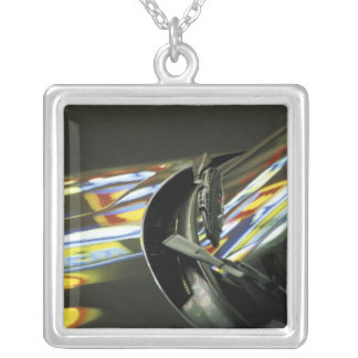Asia, Malaysia, Melaka. Neon reflections in car Silver Plated Necklace