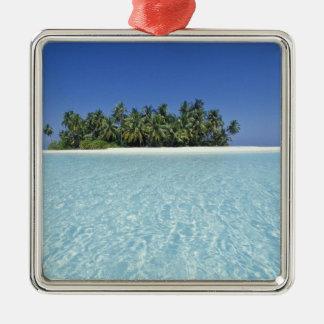 ASIA, Maldives, Ari Atoll, Uninhabited Silver-Colored Square Decoration