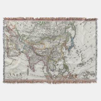 Asia Map by Stieler Throw Blanket