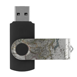 Asia Map by Stieler USB Flash Drive