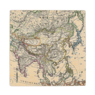 Asia Map by Stieler Wood Coaster