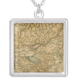 Asia  Map by Worcester Silver Plated Necklace