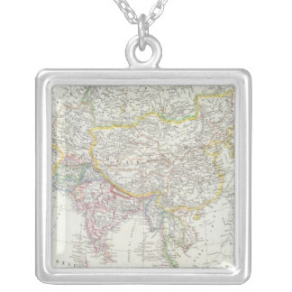 Asia Map Silver Plated Necklace