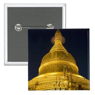 Asia, Mayanmar, Yangon, Buddhist temple in 15 Cm Square Badge
