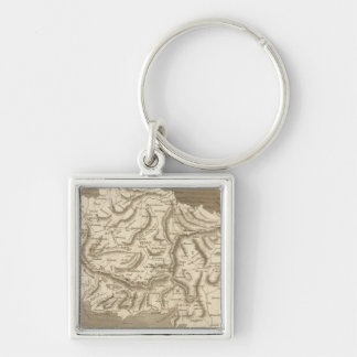 Asia Minor Map by Arrowsmith Silver-Colored Square Key Ring