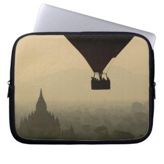 Asia, Myanmar, Bagan, balloon over temples of Laptop Sleeve