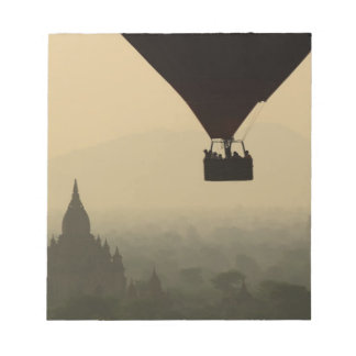 Asia, Myanmar, Bagan, balloon over temples of Notepad