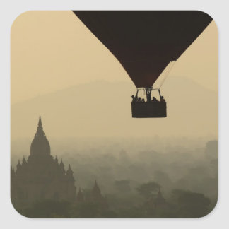 Asia, Myanmar, Bagan, balloon over temples of Square Sticker