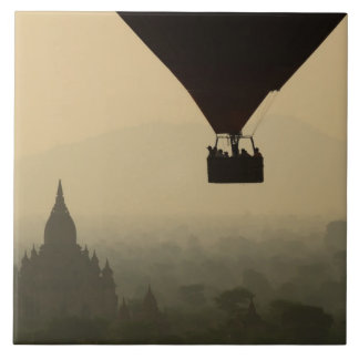 Asia, Myanmar, Bagan, balloon over temples of Tile