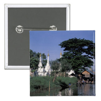 Asia, Myanmar, Inle Lake. A floating market. 15 Cm Square Badge