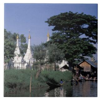 Asia, Myanmar, Inle Lake. A floating market. Tile