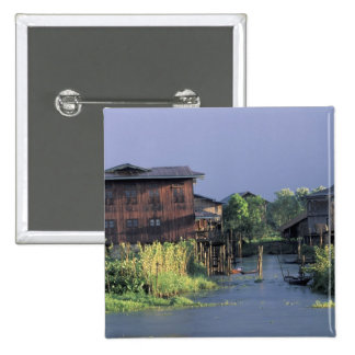 Asia, Myanmar, Inle Lake. A floating village on 15 Cm Square Badge