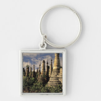 Asia, Myanmar, Inle Lake. Ancient ruins of Silver-Colored Square Key Ring