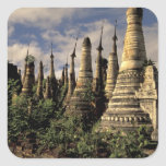 Asia, Myanmar, Inle Lake. Ancient ruins of Square Sticker