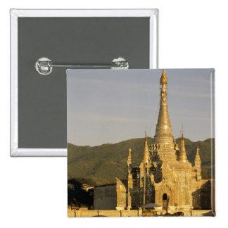 Asia, Myanmar, Inle Lake. Pagodas. 15 Cm Square Badge