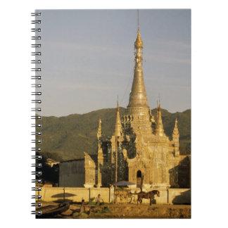 Asia, Myanmar, Inle Lake. Pagodas. Spiral Notebook