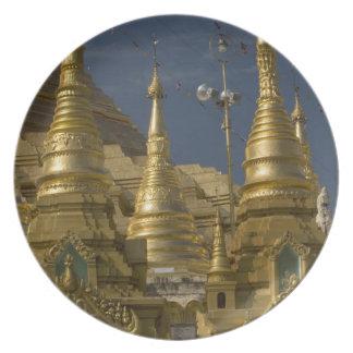 Asia, Myanmar, Yangon. Golden stupa of Shwedagon Plate