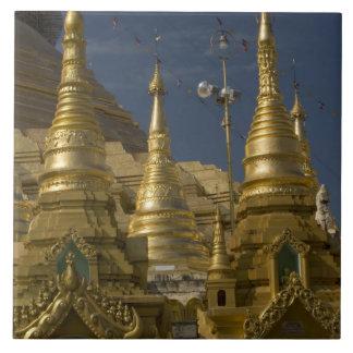 Asia, Myanmar, Yangon. Golden stupa of Shwedagon Tile
