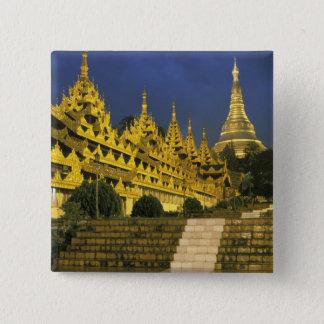 Asia, Myanmar, Yangon. Shwedagon Pagoda at 15 Cm Square Badge